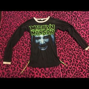 Tops - Vintage Marilyn Manson DIY lace long sleeve ringer